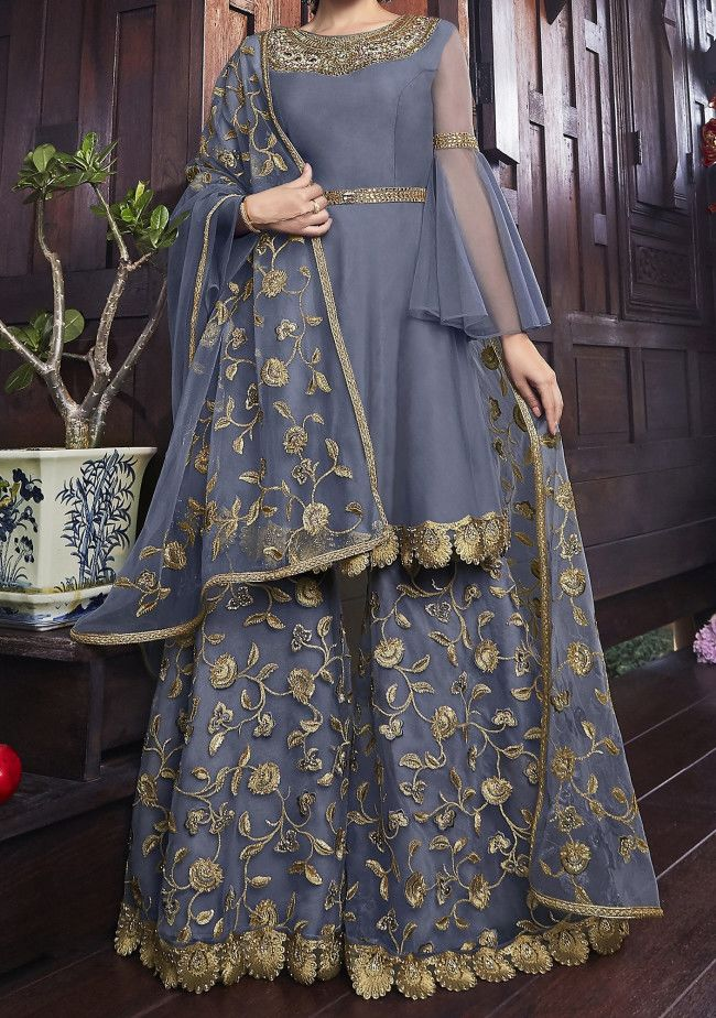 Swagat Snow White Designer Party Wear Palazzo Suit