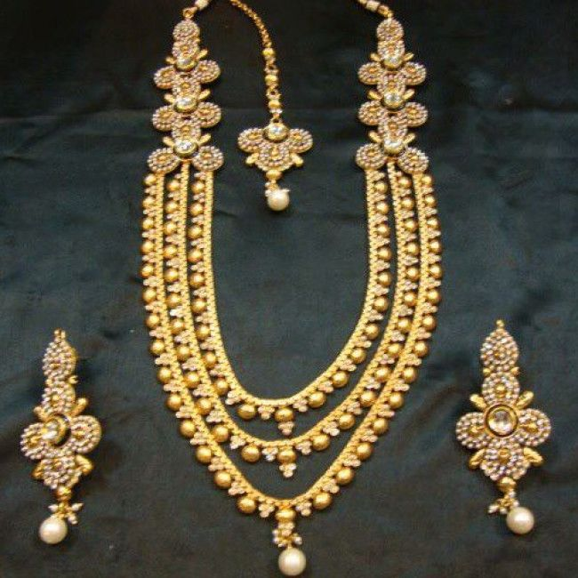 3 Layer Gold Plated Pearl And Original Kundan Necklace Set