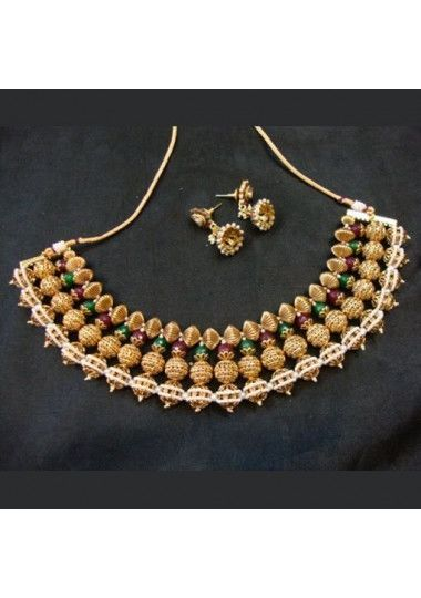 Gold Plated Green Meroon Necklace Set