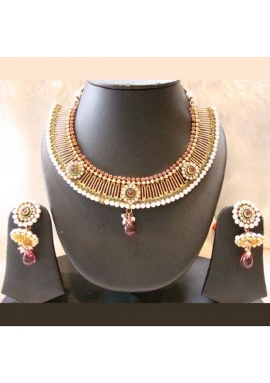 Gold Plated Green Meroon Pearl Necklace Set