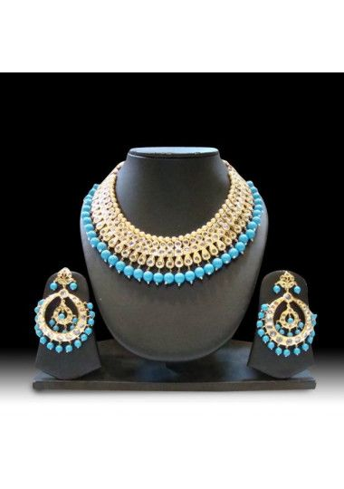 Gold Plated Pearl And Kundan Heavy Necklace Set