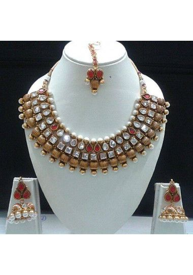Gold Plated Pearl And  Kundan Necklace Set