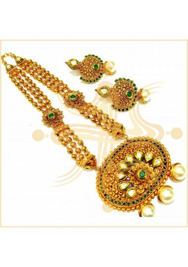 3 Layer Gold Plated Pearl And Kundan Long Necklace Set