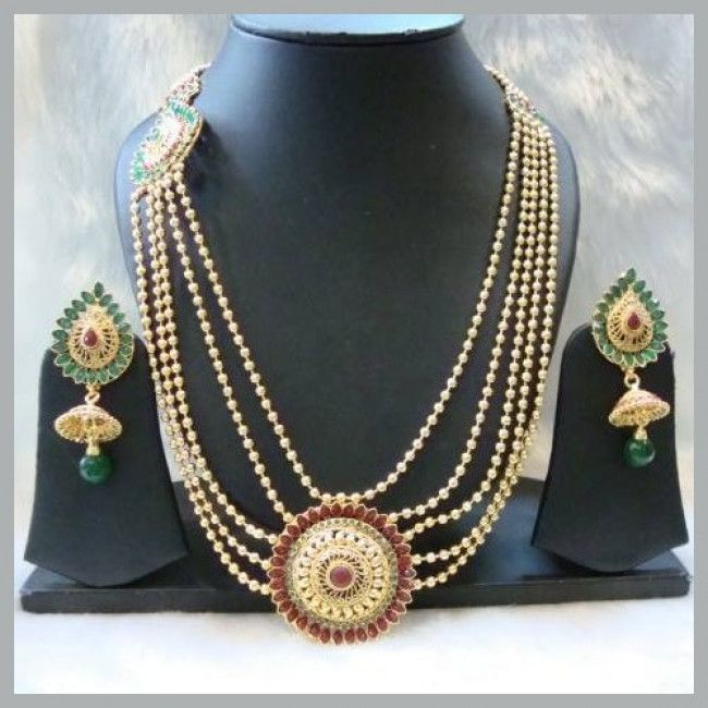 5 Layer Gold Plated Green-Meroon Long Necklace Set