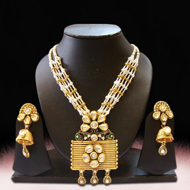 Gold Plated Pearl And Kundan Long Necklace Set