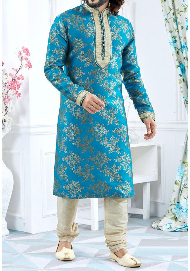 Men's Traditional Party Wear Jacquard Kurta Pajama