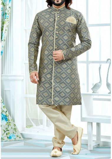 Men's Traditional Party Wear Jacquard Sherwani Suit