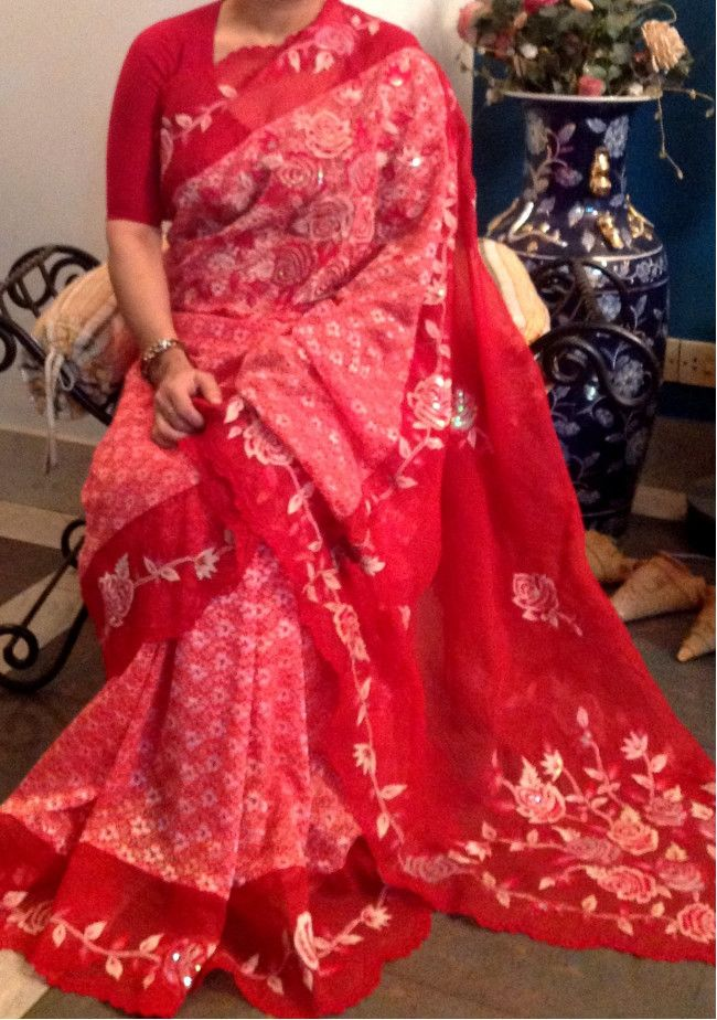 Lace Saree With Heavy Embroidery Work