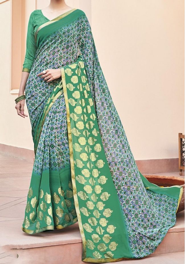 Emerald Printed Georgette Designer Saree