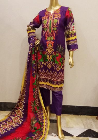 Embroidered 3 Pieces Pakistani Cotton Dress