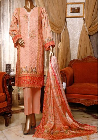 Bin Saeed Festive Embroidered 3 Pieces Lawn Suit