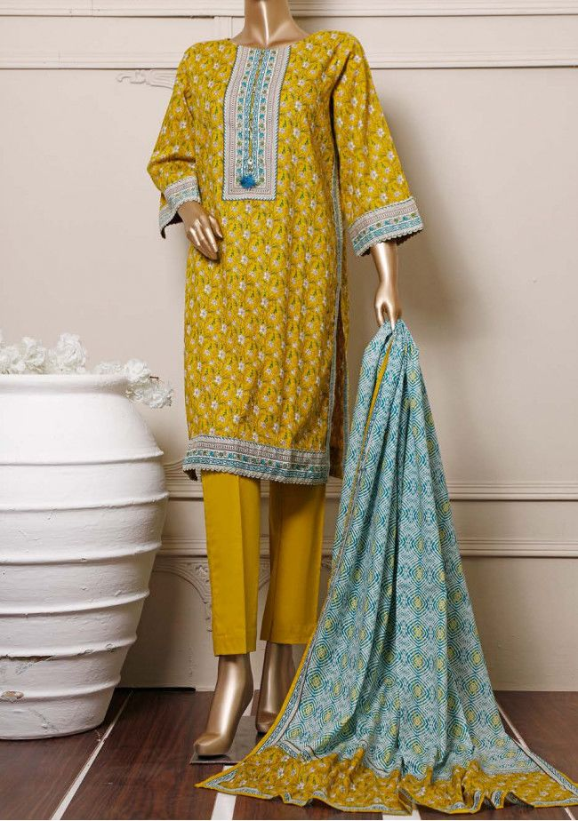 Bin Saeed Printed Soft Design 3 Pieces Cotton Suit