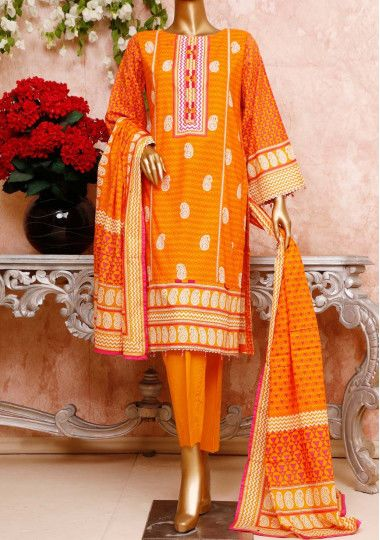 Bin Saeed 3 Pieces Embroidered Cambric Cotton Suit