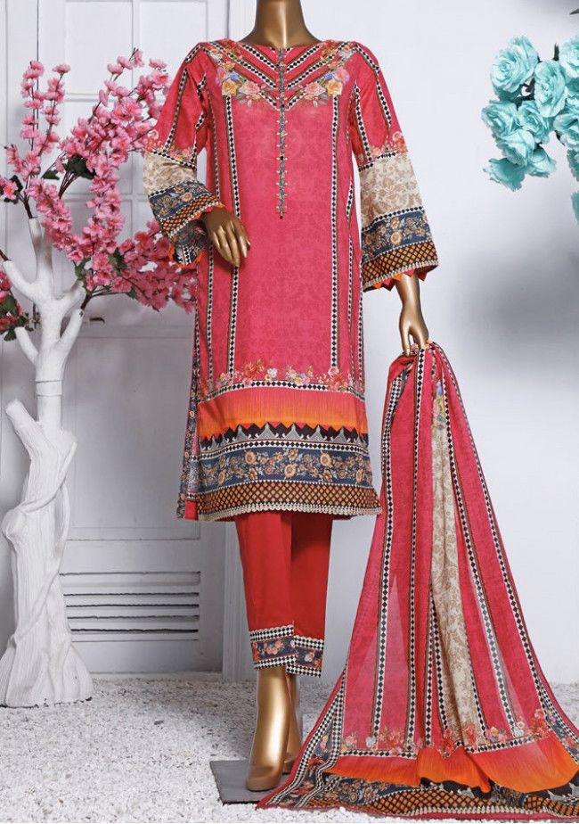 Bin Saeed Soft 3 Pieces Printed Lawn Salwar Suit
