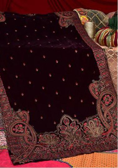 Adan's Libas Embroidered Winter Velvet Shawl