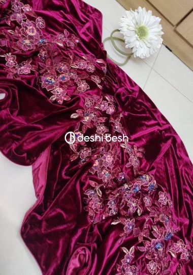 Boutique Designer Embroidered Velvet Shawl
