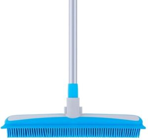 MR.SIGA Soft Bristle Rubber Broom and Squeegee Best Brooms for Dog Hair