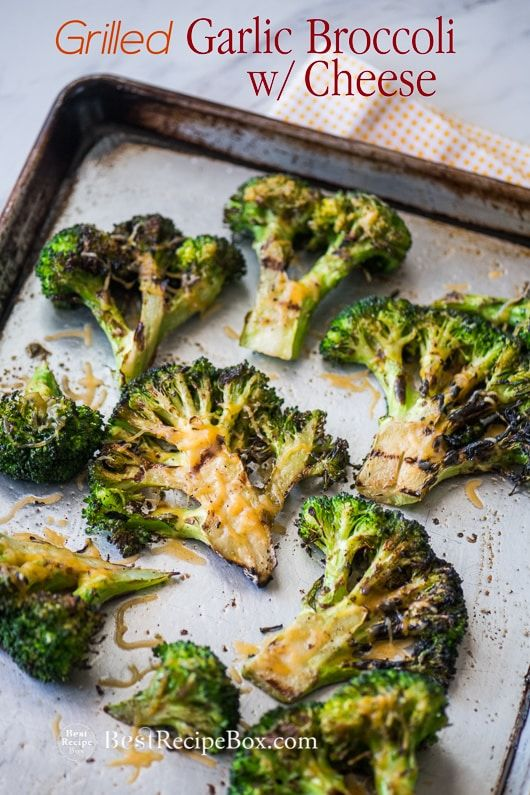 Grilled Broccoli Recipe On Bbq With Garlic And Cheddar Cheese