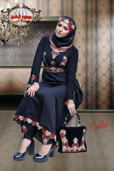 Shrouq Black Abaya red Embroidery
