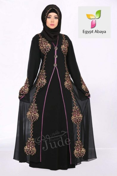 Judee Black Abaya Pink Embroidery