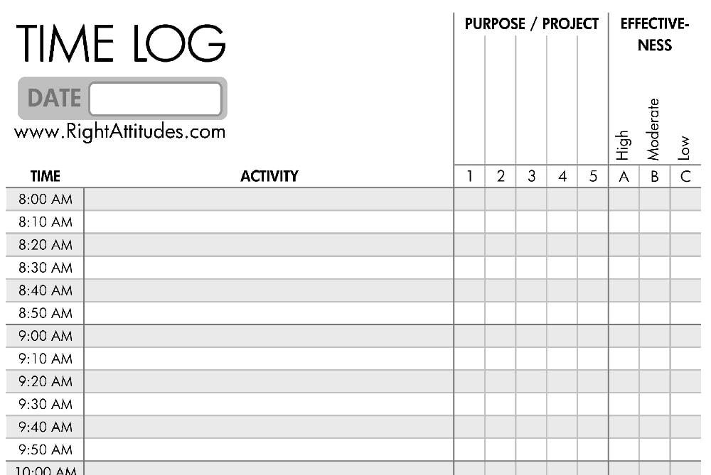 daily time log | time management worksheet word document | time management worksheet excel